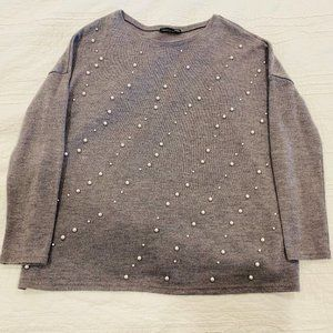 Zara Soft Long Sleeve Gray Sweater with Pearls